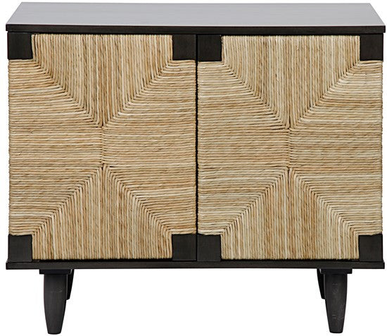 Brook Rush Cabinet mahogany pale finish seagrass wrapped doors greige design shop + interiors