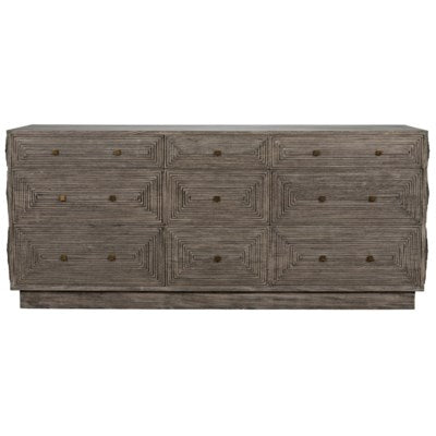Baram Dresser distressed grey mahogany greige design shop + interiors front