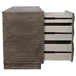 Baram Dresser distressed grey mahogany greige design shop + interiors open