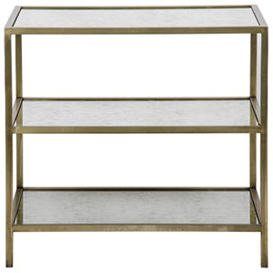 "Aleena 3 tier brass and antique mirror side table metal and antiqued mirror antique brass finish greige design shop + interiors 30"" X 20"" X 28"" H"