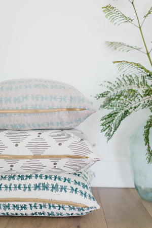 Stick stripe pillow in Blue grass on Oatmeal