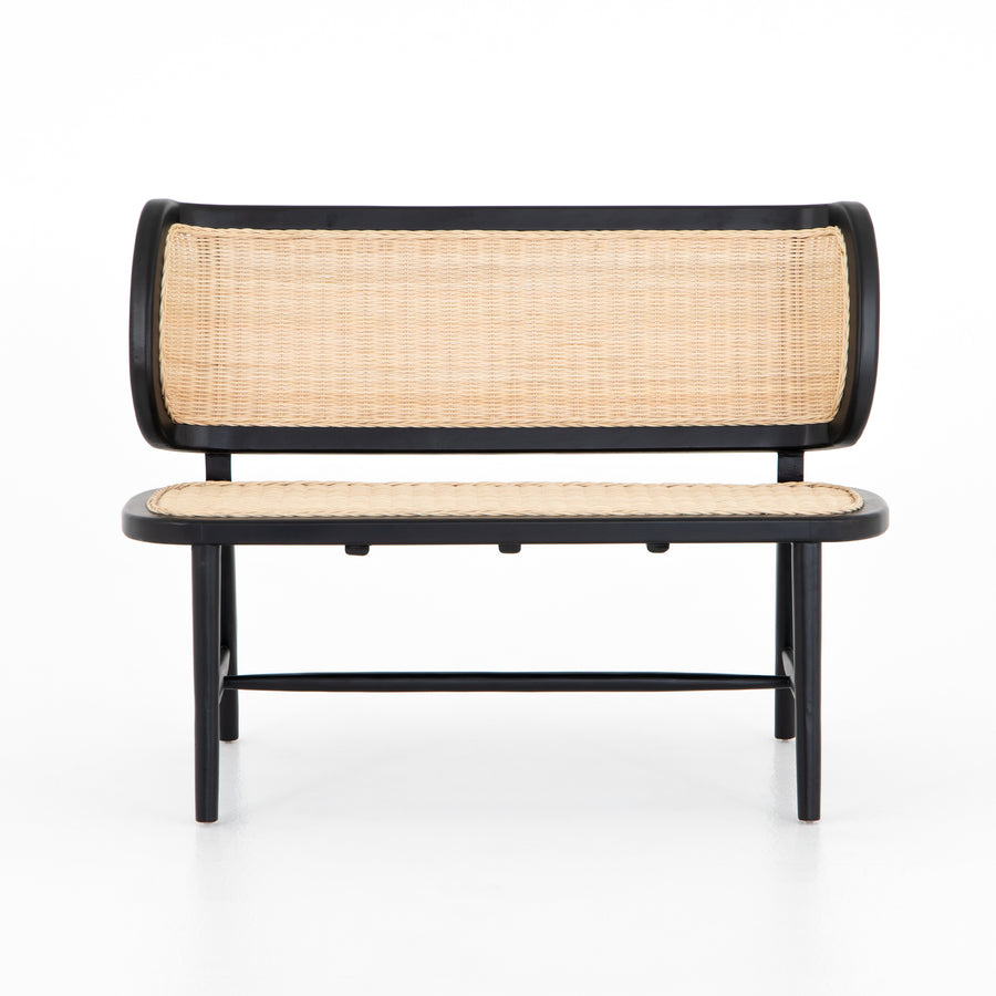 black-finished mahogany, wheat-colored rattan bench seating