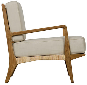 Allister Chair with Rattan and Teak wood teak oil finish white cotton side greige design shop + interiors
