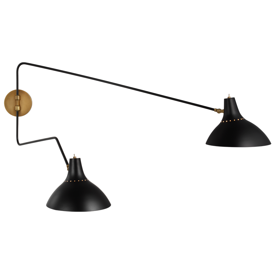large double wall light black and brass