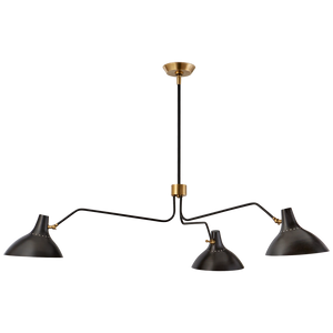 large triple arm chandelier in black and brass