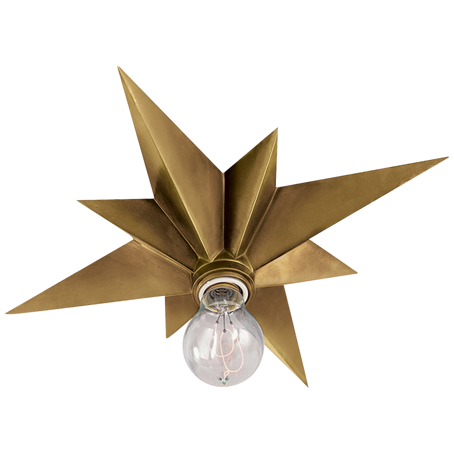 hand rubbed antique brass star ceiling light