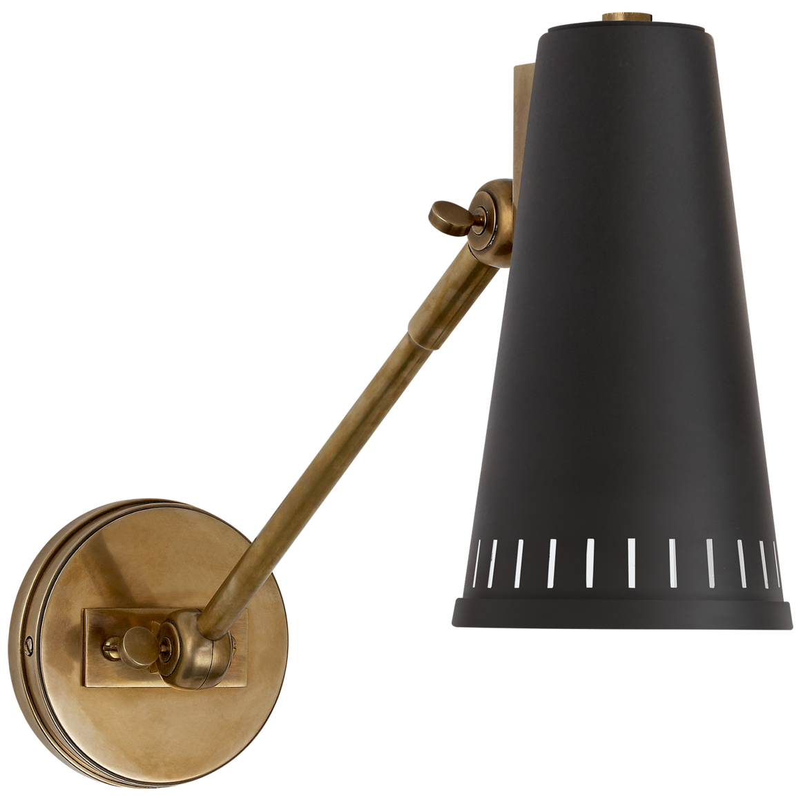 adjustable one arm wall lamp in hand rubbed antique brass with black or white shade