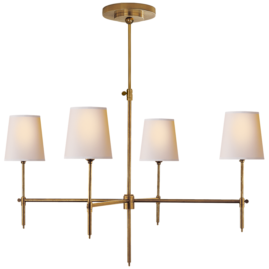 Hand rubbed antique brass with natural paper shade chandelier