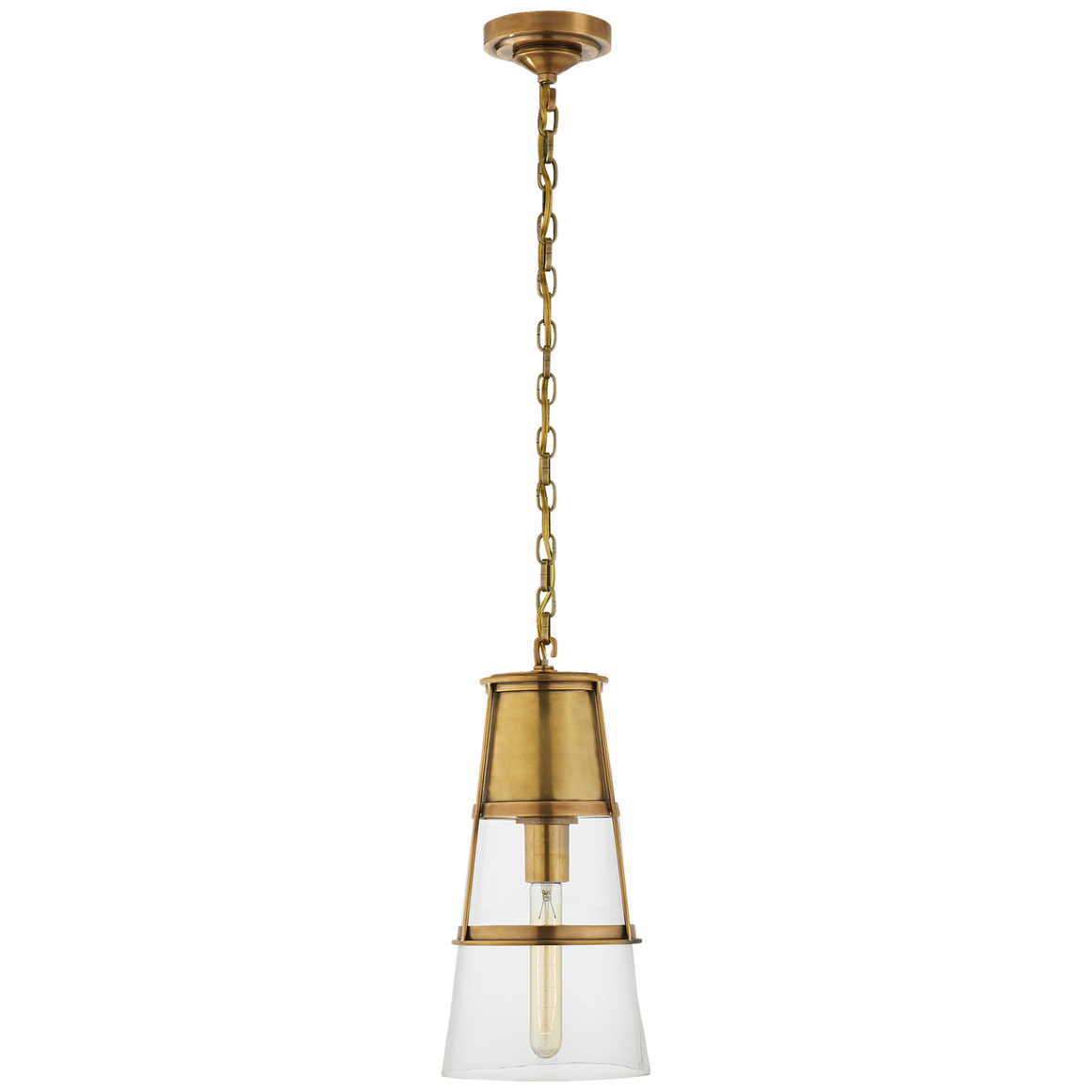 hand rubbed brass, bronze or polished nickel and clear glass pendant