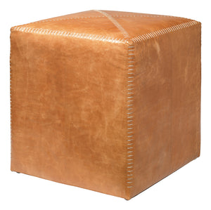 Small Leather ottoman- Buff