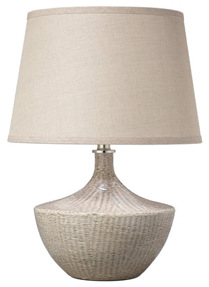 Basketweave Table Lamp ceramic base beige off-white white finish natural linen open cone shade greige design shop + interiors