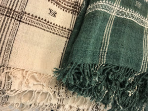 Off white & Emerald wool bedcover hand woven in India greige design shop + interiors indian bedcover throw green