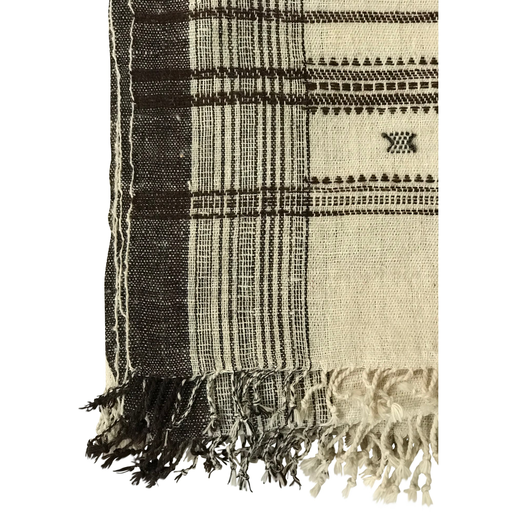 Off white & Chestnut wool bedcover hand woven in India greige design shop + interiors boho chick interior design