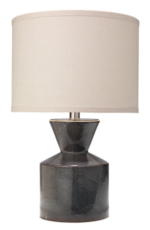 Berkeley Table Lamp ceramic blue black reactive glaze linen drum shade greige design shop + interiors