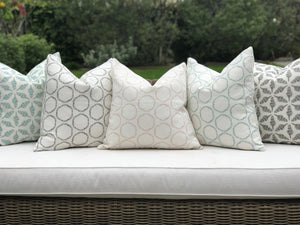 Cape pillow in Bluegrass on Oyster linen greige textiles greige design shop + interiors