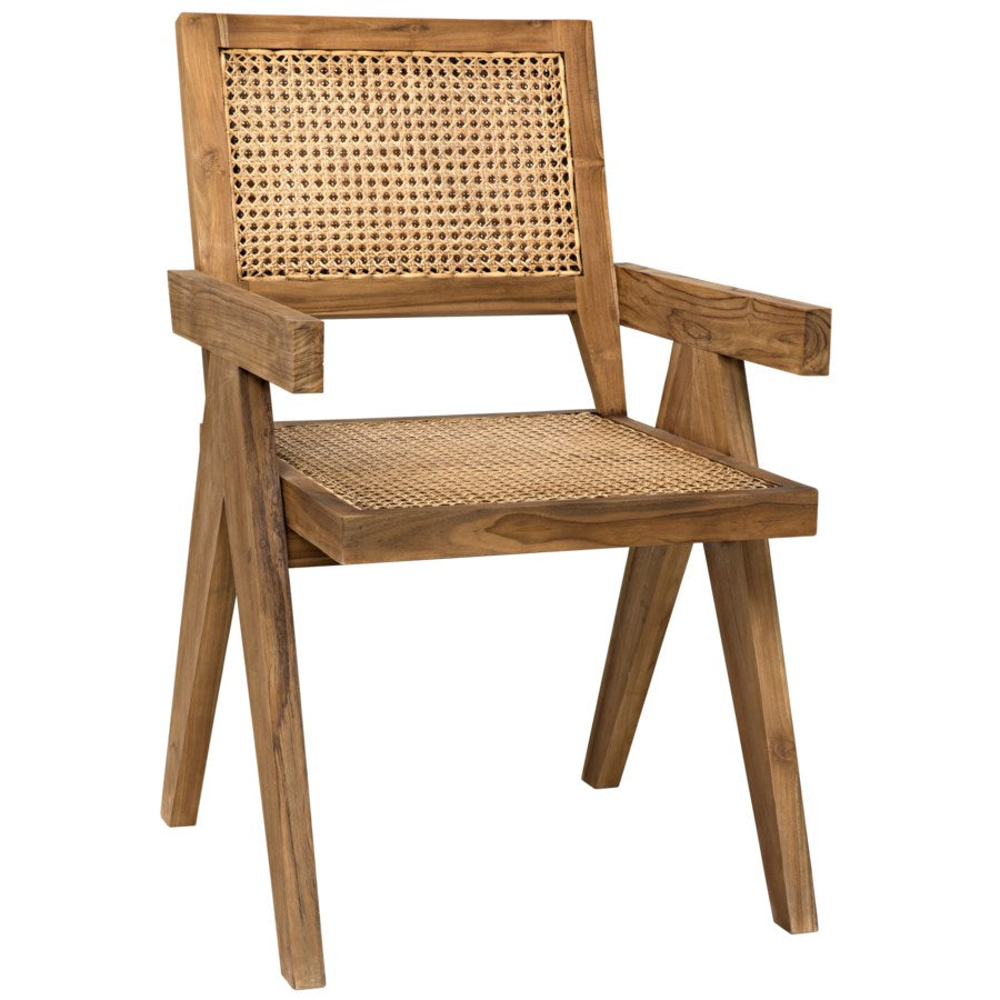 Jude Teak Chair w/ Caning- Natural or Black