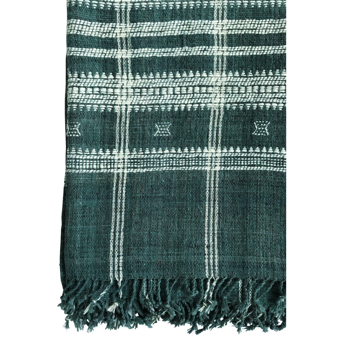 Off white & Emerald wool bedcover hand woven in India greige design shop + interiors indian bedcover throw
