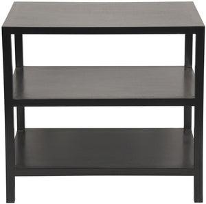 greige design shop + interiors 2 shelf table black mahogany