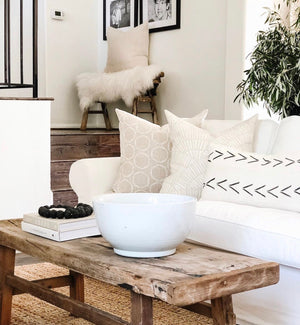 Cape pillow in white on Oatmeal