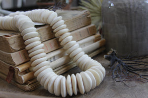 Bone disk beads strand decorative white greige design shop + interiors