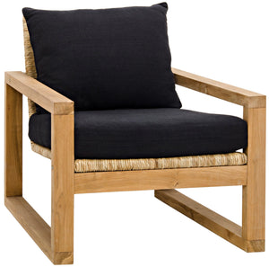 Teak and seagrass lounge chair with cushions greige design shop + interiors