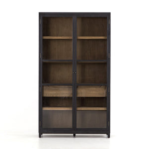Miles dining storage cabinet black with light wood four hands greige design shop + interiors