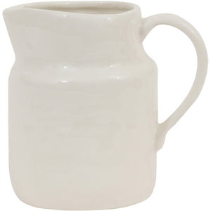 "4-1/2""H 10 oz. Stoneware Vintage Pitcher, White greige design shop + interiors"