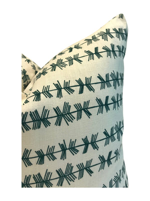 Stick stripe pillow in Tealish on Oyster