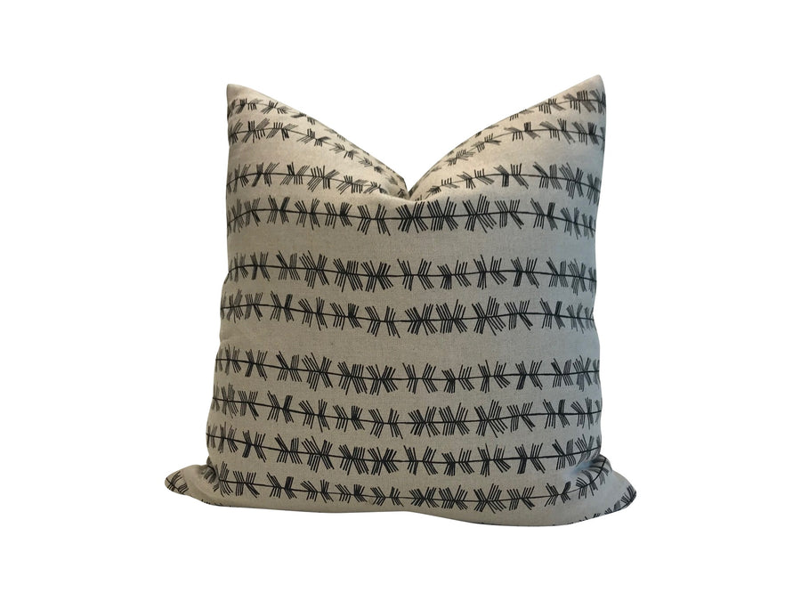 Stick stripe pillow in Black on oatmeal