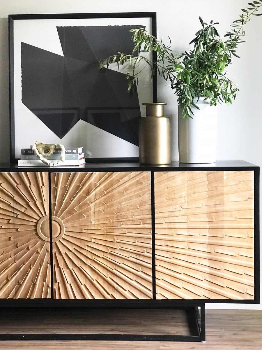 Ra sideboard  Hand Rubbed Black with Teak noir furniture greige design shop + interiors