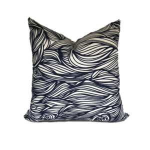 Trina Pillow in Indigo on Oyster