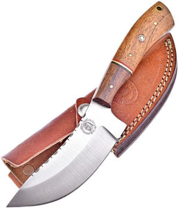 Frost Skinner Walnut Handle Stainless Fixed Knife with Sheath