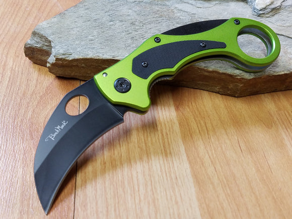 Benchmark Knives Venom Karambit Green Folding Pocket Knife - 043