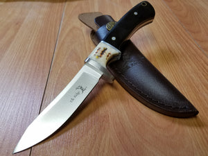 "Elk Ridge 8 3/8"" Stag Fixed Blade Hunting Knife with leather sheath - 087"