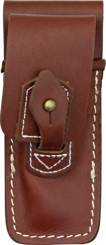 Carry All Brown Leather Belt Sheath Pouch for Folding Knife Tool UpTo 4 1/2