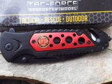 Tac Force Fire Dept FireFighter Rescue Serrated Assisted Linerlock Red Folding Knife 637FD