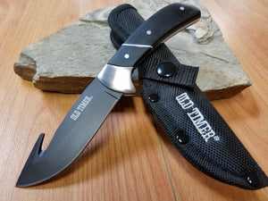 "Schrade 7"" Old Timer Fixed Blade Black Hunter Guthook Knife Full Tang Wood - 155G"