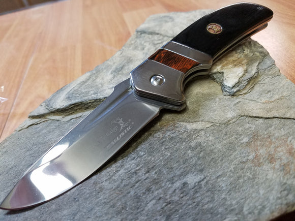 Elk Ridge Black Wood Folding Assisted Open Pocket Knife Plain Drop Pt - A167BK