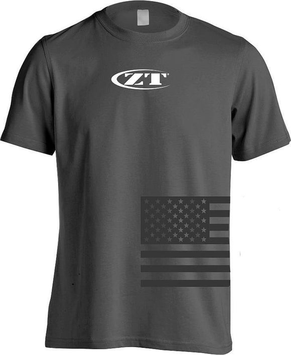 Zero Tolerance White Logo American Flag Gray Short Sleeve Men's T-Shirt