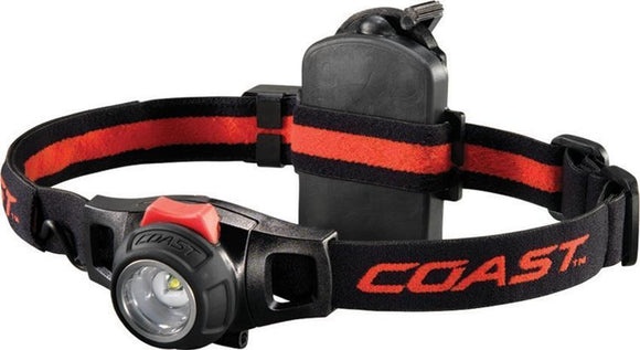 Coast HL7R Rechargeable Black & Red Adjustable Headlamp 150 Lumens w/ Battery Charger