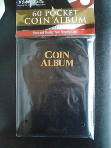 60 Pocket Coin Album Book By Whitman W/ 2x2 Slots