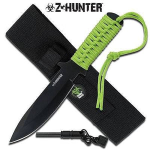 "Z Hunter Zombie Apocalypse 9"" Fixed Knife w/ Fire Starter - 005"