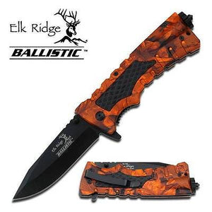 Elk Ridge Ballistic Folding Rescue Knife Orange Camo A001OC
