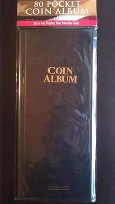 80 Pocket Coin Album Book By H.E. Harris W/ 2x2 Slots