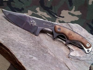 "Elk Ridge Fixed Blade Skinning 7"" Knife w/ Burl Wood Handles - 534"