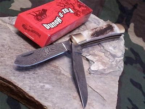 Fox N Hound Damascus 2 Blade Folding Trapper Knife W/ Stag Handle - 614
