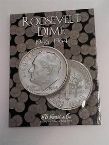 H.E. Harris Roosevelt Dime Folder 1946 - 1964 Coin Storage Album Display No. 1