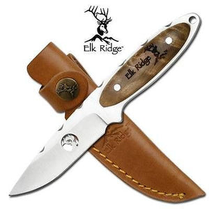 "Elk Ridge Hunter 7"" Fixed Knife W/ Maple Handle & Laser Cut Blade 194"