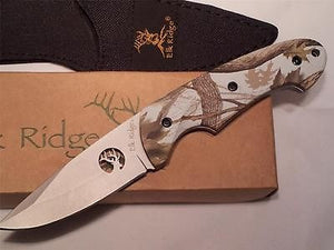 "Elk Ridge Camo Fixed 8"" Knife Snow Blind - 046CA"