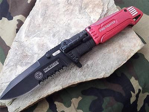 TAC FORCE SPRING ASSISTED FD RESCUE KNIFE WITH LED LIGHT - TF749FD